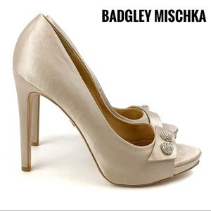 BADGLEY MISCHKA Nude Satin Peep-toe Pumps Size 7